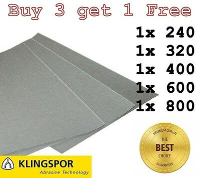 WET AND DRY SANDPAPER KLINGSPOR Assorted grit - 240 320 400 600 800 - PACK OF 5