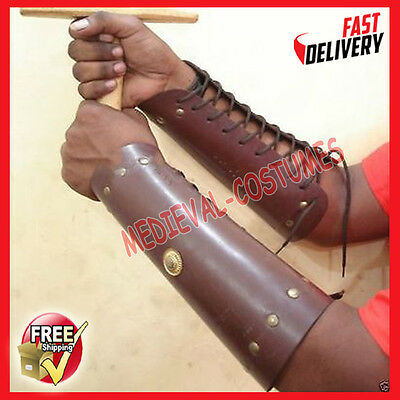 Medieval Knight Warrior Arm Guards Wrist Forearm Armor Leather Dress Up King