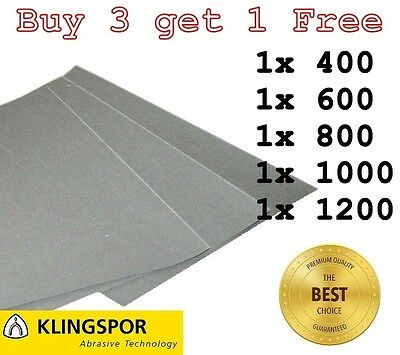 WET AND DRY SANDPAPER KLINGSPOR Assorted grit 400 600 800 1000 1200 - PACK OF 5
