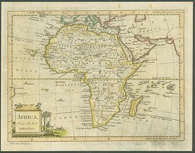 """1770 Original Antique Map """"AFRICA"""" by T KITCHIN Hand coloured"""
