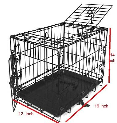 """19"""" wide Pet Cage Metal Dog Cat Puppy Training Folding Crate Animal Transport"""