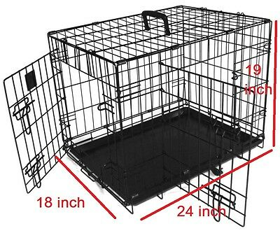 24 inch Pet Cage Metal Dog Cat Puppy Training Folding Crate Animal Transport