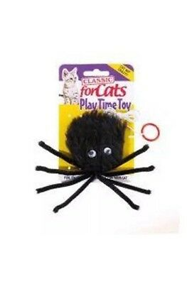"Classic Black Furry Spider 3"" Toy ~ For Cats & Kittens"
