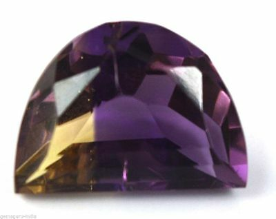 Awesome Halfmoon Cut Ametrine Of Citrine And Amethyst Gorgous Color Play 11.05Ct