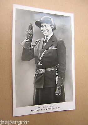 GIRL GUIDE POSTCARD. THE CHIEF GUIDE LADY BADEN-POWELL Circa 1930.