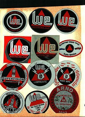 12 Different Nice Westmorland Coal Co. Coal Mining Stickers # 520