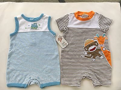 Two New adorable baby boys summer one piece outfits size 6-9 months