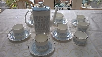 Royal Doulton Counterpoint pale blue and silver tea set perfect condition