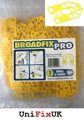 200x 1mm Yellow Plastic U Shims Pails Wedges Packing Spacer Packers 55 x 43mm
