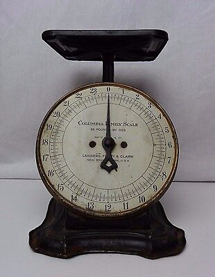 Vintage Antique Weight Scale Columbia Family Landers Frary Clark Rustic Farm