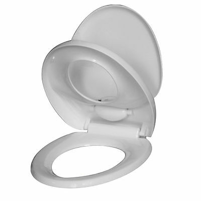 Luxury Toilet Seat White Easy Fit Child Family Bathroom Soft Close Adjustable