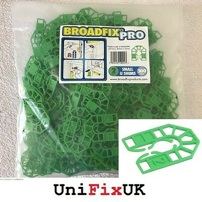 200x 2mm Green Plastic U Shims Pails Wedges Packing Spacer Packers 55 x 43mm