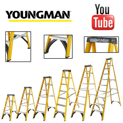 Fibreglass Step Ladder Youngman Catwalk S400 GRP Steps for Heavy Duty Industrial