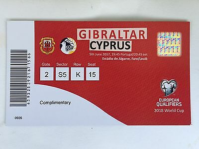 Gibraltar v Cyprus unused ticket World Cup Qualifiers 9th June 2017 MINT & RARE