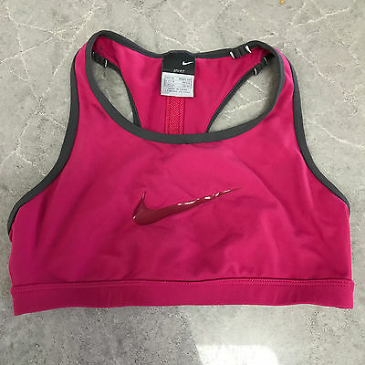 Nike Womens Sport Bra Dri Fit Pink Grey Top Athletic Workout Size XS Running