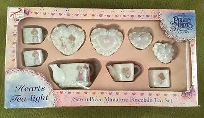 PRECIOUS MOMENTS~Hearts Tea-Light~7 PC MINI TEA SET~1995. HEARTS~VALENTINES