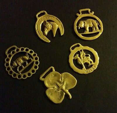 VTG Lot 5 Horse Brasses wales pegasus three leaf clover Vintage Bridal Brass