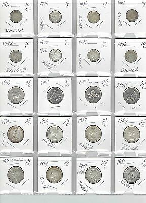CANADA Lot of 20 Different Coins - 16 Silver Coins