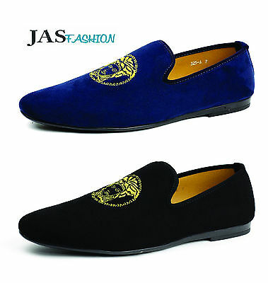 Mens Navy Slip On Italian Designer Loafers Driving Shoes Casual Moccasin Size UK