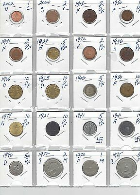 GERMANY Lot of 20 Different Coins