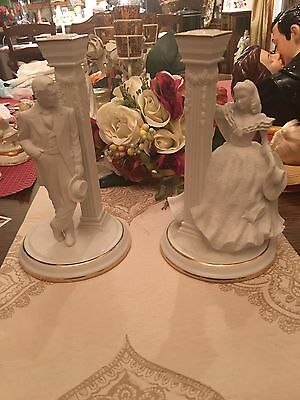Gone With the Wind ~ FRANKLIN MINT 50th ANNIVERSARY PORCELAIN CANDLESTICKS -NEW