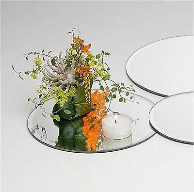 10 x GLASS ROUND MIRROR PLATES WEDDING TABLE DECORATION CENTREPIECE 30CM  EF