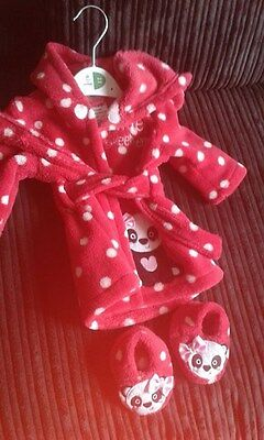 Baby Dressing Gown with Slippers 0-3 months