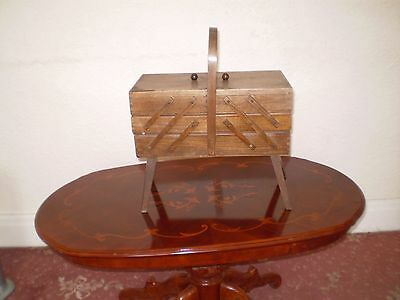 Wooden 3 Tier Sewing Box with Cotton