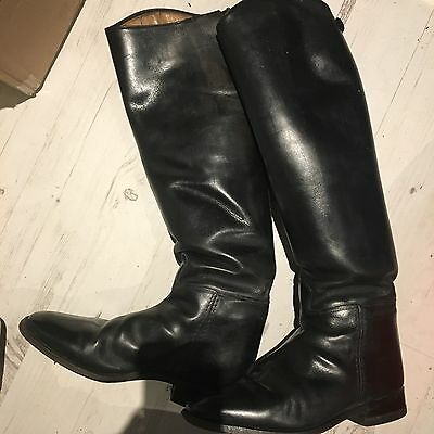 Ladies Cavallo Black Leather Riding boots, Dressage cut tops, size 5.5