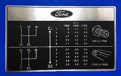 1970s FORD Force / Pre-Force Gear Selector Ratio & PTO Deckle - MPH