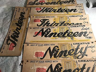 Vintage Creative Script House Numbers NOS Lot Of 7