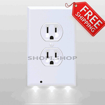 New Guidelight Outlet Coverplate Led Snappower Night Lights White Duplex Light