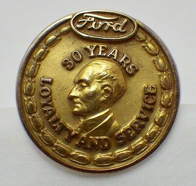 Vintage Solid 10K Yellow Gold Ford Motor Co. 30 Year Employee Service Lapel Pin