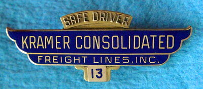 Vintage Wings Award Pin Badge: KRAMER CONSOLIDATED FREIGHT LINES; Trucking