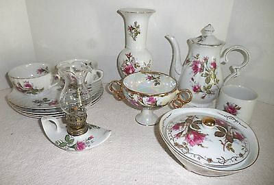 Vtg Dessert Tea Set 12 Piece Red Roses Porcelain China Teapot Candy Dish Vase