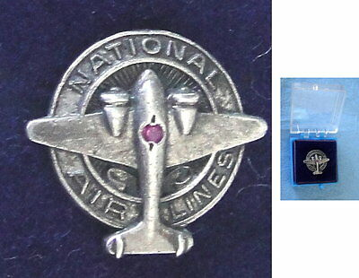 1940's NATIONAL AIRLINES Employee Figural AIRPLANE PIN; Sterling w/Ruby W/Box