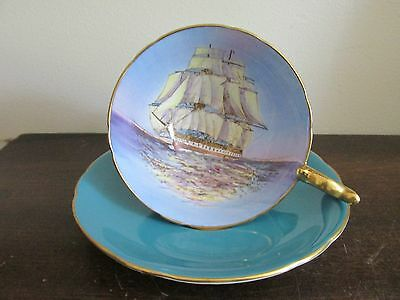 Vintage Aynsley England Tea Cup And Saucer Ship Turquoise Blue