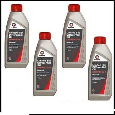 4x COMMA 80W-90 LIMITED SLIP DIFFERENTIAL GEAR OIL 1 LITRE MINERAL FLUID DIFF