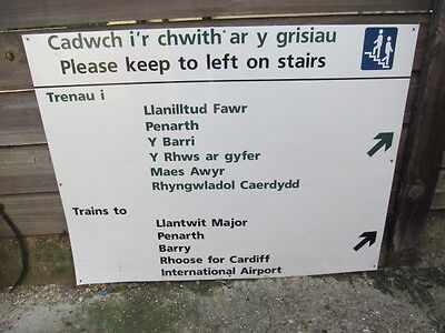 Reclaimed Large Two Original Welsh   Railway Station  Metal Sign / Airport