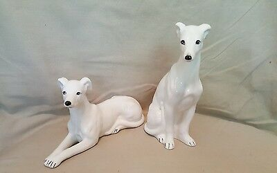 2 Vintage  PACIFIC IMPORTS White Greyhound  Porcelain Dog Figurines NICE