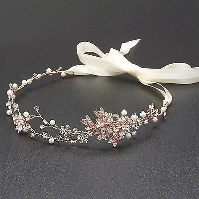 Mariell Rose Gold Freshwater Pearl and Crystal Bridal Ribbon Headband Hair Vine