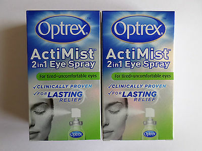 2 x Optrex Actimist 2 in 1 Eye Spray For Tired and Uncomfortable eyes 2 x 10ml