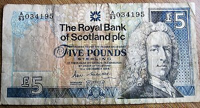 The Royal Bank Of Scotland -£5 Note -1988 Used