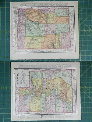 Wyoming Utah Vintage Original 1895 Rand McNally World Atlas Map Lot