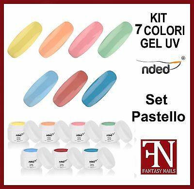 KIT 2605 PASTELLO - N° 7 COLORI GEL UV colore  nded 5 ml nail art unghie