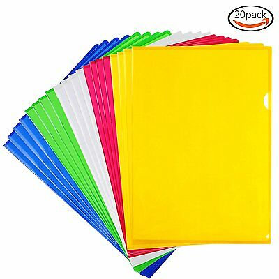 LoveS Clear document Folder Project Pockets, Letter Size, Set of 20 in 5 Colors