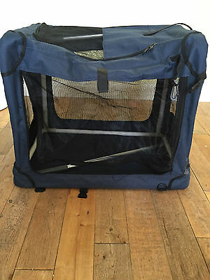 """cat dog pet travel crate carrier mesh collapsible  m - l 15"""" x 18"""" x 21"""""""
