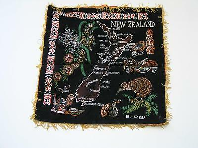 Vintage New Zealand Souvenir Map Velveteen print Pillow Cover 1940's by D and J