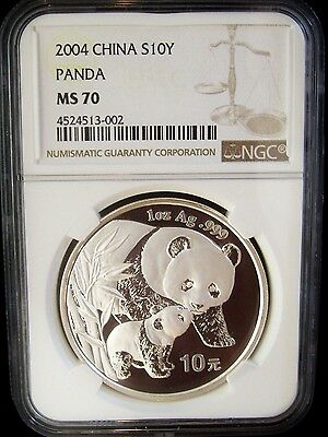 2004 China Panda 10 Yuan NGC MS70 1 Ounce Silver Coin