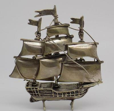 43g Vintage Solid Silver Sailing Ship Miniature - Stamped - Made in Italy